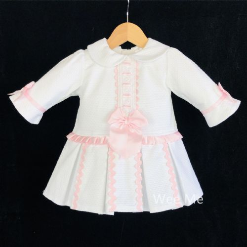 *SALE* Stunning Baby Girl Spanish White with Pink Half Sleeve Princess Dress